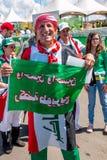 Brasilien, Brasilien 4. August 2016: Irakische Fußballfan-Versammlung außerhalb des Stadions Mané Garrincha Stockfoto