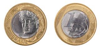 Brasilien ett verkligt mynt royaltyfria foton