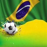 Brasilien flagga & fotbollboll på grungetexturbakgrund, vektor & illustration Royaltyfri Fotografi