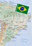 Brasilien flaggastift på översikt Fotografering för Bildbyråer