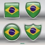 Brasilien-Flagge in der Sammlung mit 4 Formen mit Beschneidungspfad Lizenzfreie Stockbilder