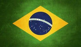 Brasilien-Flagge, Schmutzbeschaffenheitshintergrund Lizenzfreies Stockfoto