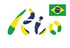 Brasilien-Flaggen-flache Vektor-Illustration Rio de Janeiro Lettering Isolated auf weißem Hintergrund Lizenzfreie Stockfotos