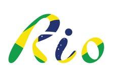 Brasilien-Flaggen-flache Vektor-Illustration Rio de Janeiro Lettering Isolated auf weißem Hintergrund Stockfoto