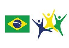 Brasilien-Flaggen-flache Vektor-Illustration Rio de Janeiro Lettering Isolated auf weißem Hintergrund Gelbe, grüne, blaue Farben  Stockfotografie