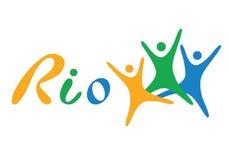 Brasilien-Flaggen-flache Vektor-Illustration Rio de Janeiro Lettering Isolated auf weißem Hintergrund Orange, grüne, blaue Farben Lizenzfreies Stockbild
