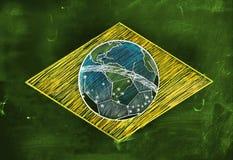 Brasilien-Flaggen-Skizzen-Fußball-Ausgabe vektor abbildung