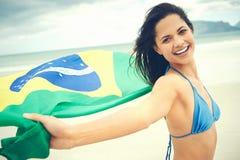 Brasilien-Flaggenfrauenfan Lizenzfreie Stockfotografie