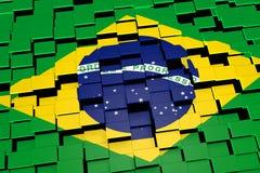 Brasilien-Flaggenhintergrund bildete sich von den digitalen Mosaikfliesen, Wiedergabe 3D Stockfotos