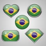 Brasilien-Flaggenikonen Lizenzfreie Stockfotografie