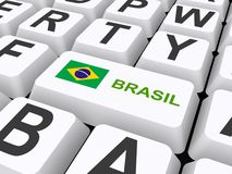 Brasilien-Flaggenknopf auf Tastatur Lizenzfreie Stockbilder