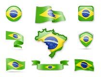 Brasilien-Flaggensammlung Lizenzfreie Stockfotos