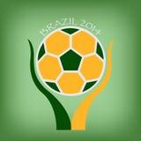 Brasilien fotboll i hand Royaltyfri Fotografi