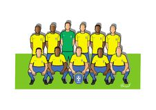 Brasilien fotbollslag 2018 royaltyfri illustrationer