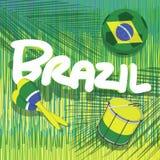 Brasilien-Fußball mit tropischem Hintergrund Lizenzfreie Stockfotos