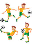 Brasilien-Fußballspieler-Zeichentrickfilm-Figur-Aufstellung Stockfoto