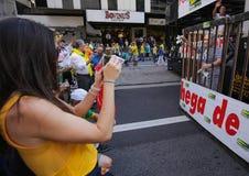 Brasilien gataprotest April 12 2015 São Paulo Arkivfoto