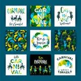 Brasilien karneval Ljusa festliga mallar Royaltyfria Bilder