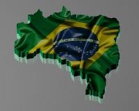 Brasilien-Karte mit brasilianischer Markierungsfahne Stockfoto