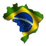 Brasilien-Kartenmarkierungsfahne Lizenzfreies Stockfoto