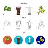 Brasilien, Land, Flagge, Trommel Gesetzte Sammlungsikonen Brasilien-Landes in der Karikatur, Entwurf, flacher Artvektor-Symbolvor Stockfotografie