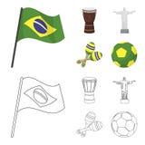 Brasilien, Land, Flagge, Trommel Gesetzte Sammlungsikonen Brasilien-Landes in der Karikatur, Entwurfsartvektor-Symbolvorrat Stockfotografie