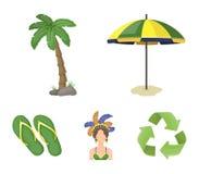 Brasilien land, paraply, strand Symboler för samling för Brasilien landsuppsättning i symbol för tecknad filmstilvektor lagerför  Arkivbild