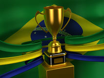Brasilien-Markierungsfahne mit Goldcup Stockfotografie
