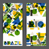 Brasilien och Rio de Janeirobaner i abstrakt geometrisk stil Planlägg för räkningar, den turist- broschyren som annonserar bakgru Arkivbilder