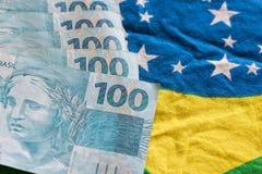Brasilien pengar/reais Arkivbilder