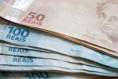 Brasilien pengar/reais Royaltyfria Foton
