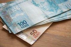 Brasilien pengar/reais Royaltyfria Bilder