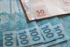 Brasilien pengar/reais Arkivfoto