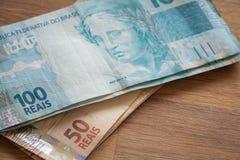 Brasilien pengar/reais Fotografering för Bildbyråer