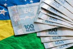 Brasilien pengar/reais Arkivbild