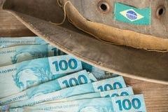 Brasilien pengar/reais/affärsidé Arkivfoto
