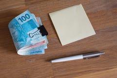 Brasilien pengar/reais/begreppet av hushållbudgeten Royaltyfria Bilder