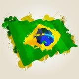 Brasilien plaskar flaggan Arkivfoton