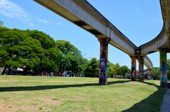 Brasilien Porto Alegre, 12 12 2015 - stads- arkitektur Royaltyfri Bild
