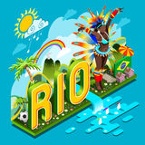 Brasilien Rio Summer Infographic Isometric 3D vektorillustration stock illustrationer