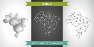 Brasilien-Sammlung der modernen Karten-, Grauer und Schwarzer und silbernerdes punktentwurfs-Mosaiks 3d Karte des Vektordesigns Lizenzfreie Stockfotos