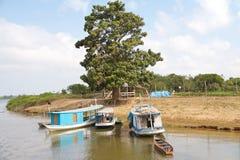 Brasilien Santarém: Bo på Amazonet River - strand hem/fartyg arkivfoton