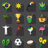 brasilien Satz flache Ikonen der Karikatur auf dem schwarzen Hintergrund Lizenzfreie Stockfotografie