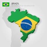 Brasilien som dras på grå färgöversikt Royaltyfri Foto