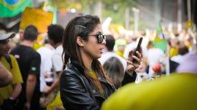 Brasilien-Straßenprotest am 12. April 2015 São Paulo Lizenzfreie Stockfotos