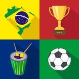 brasilien Sun Trommel cup Fußball Junge Erwachsene Gesetzte Ikonen der Karikatur Lizenzfreies Stockfoto
