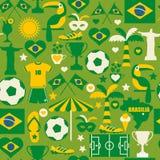 Brasilien symbolsuppsättning seamless modell Arkivbilder