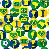 Brasilien symbolsuppsättning seamless modell Fotografering för Bildbyråer