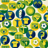 Brasilien symbolsuppsättning seamless modell Arkivfoton