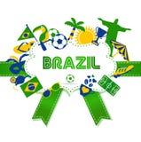 Brasilien symbolsuppsättning Vektorillustration av fotboll Arkivbilder